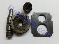 Комплект для дрели Bosch (Бош) 13 RE; Шестерня: d12, D46, D25, h8.6, H11, z42 право на гарячо; Храповик: d12, D23, z16; Вал: L64.8, d8/12/15/15,5; Промплощадка