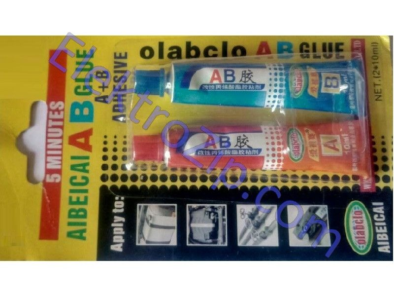 Супер клей АВ фирмы OlabclO - 2 в 1 - Ваш идеальный выбор для ремонта изделий металла: трубы, краны и др.